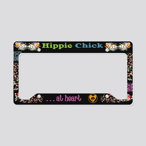 Hippie Chick At Heart Blk License Plate Holder