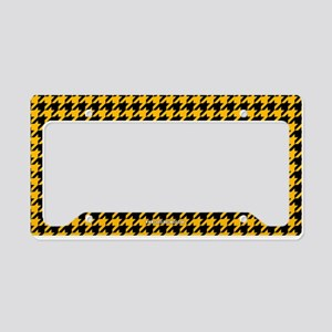 Houndstooth Yellow License Plate Holder