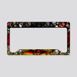 Germany Flag, Skulls License Plate Holder