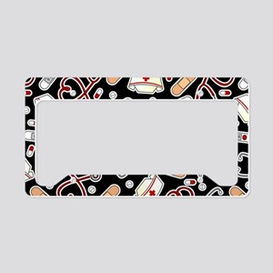 Cute Nurse Love Pattern Black License Plate Holder