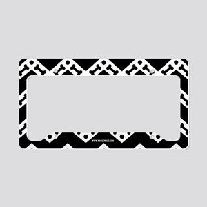 Cute Dog Bone Chevron Black License Plate Holder