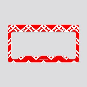 Dog Bone Chevron RED License Plate Holder