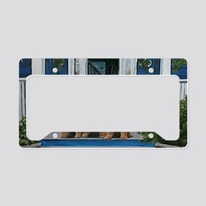 3 Airedale on porchlljkjgf License Plate Holder