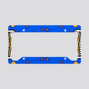 Sugar Skull BRIGHT BLUE License Plate Holder