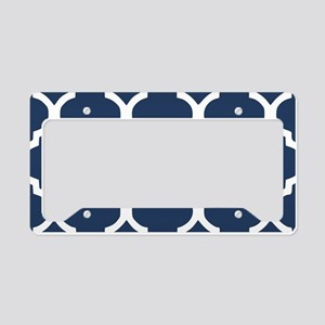 Navy Blue Quatrefoil Pattern License Plate Holder