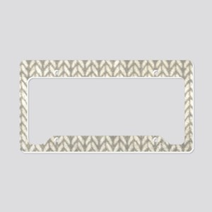 White Knit Graphic Pattern License Plate Holder