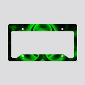 Green Biohazard Symbol License Plate Holder