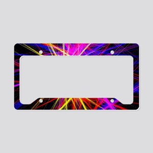 fuschia purple lines geometri License Plate Holder