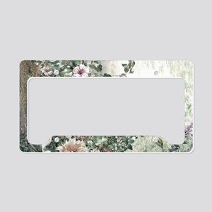 Flowers Painting License Plate Holder