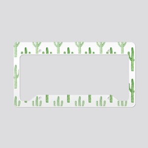 Cute Watercolor Cactus Pattern License Plate Holde