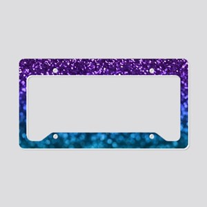 Purple Teal Faux Glitter Ombre License Plate Holde