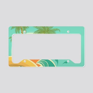 Vintage Tropical Island License Plate Holder