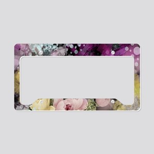 cute vintage black floral License Plate Holder