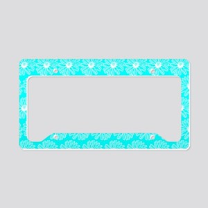 Aqua and White Gerbara Daisy License Plate Holder