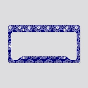 Blue and White Gerbara Daisy License Plate Holder