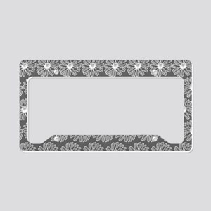 Gray and White Gerbara Daisy License Plate Holder