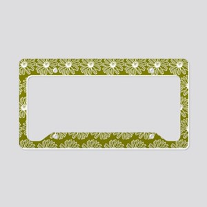 Olive Green Gerbara Daisy Pat License Plate Holder