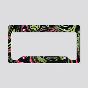 black mint coral swirls License Plate Holder