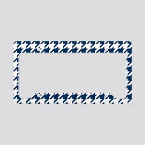 Blue, Navy: Houndstooth Check License Plate Holder