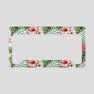 Watercolor Tropical Flowers P License Plate Holder