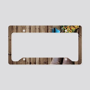 barnwood cowboy boots country License Plate Holder