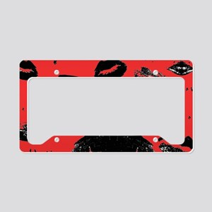 Kisses All Over (Black & Red) License Plate Holder
