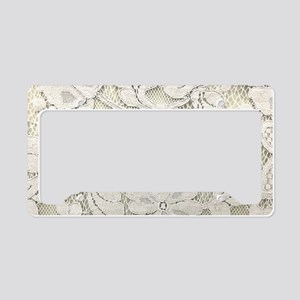 shabby chic white lace License Plate Holder