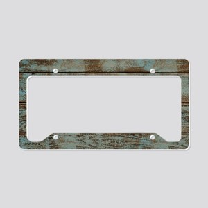rustic country blue barn wood License Plate Holder