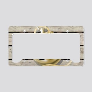 beach wood grain nautical anc License Plate Holder