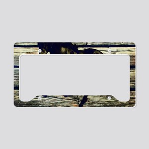 barn wood black horse License Plate Holder