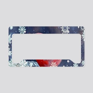 winter snow red cardinal License Plate Holder