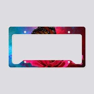 turquoise pink girly butterfl License Plate Holder