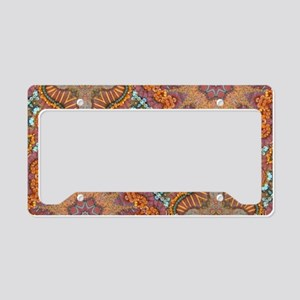 turquoise orange bohemian mor License Plate Holder