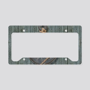 teal drift wood anchor License Plate Holder