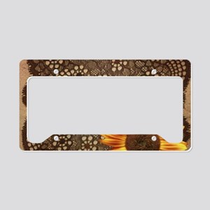 girly sunflower brown lace License Plate Holder