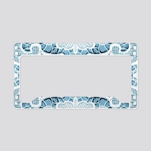 girly hipster blue lace beach License Plate Holder