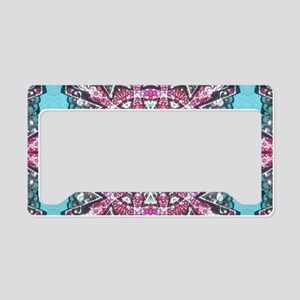 cute girly pink turquoise cow License Plate Holder