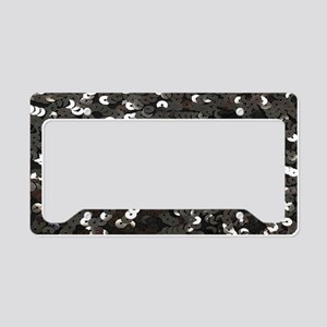 chic glitter black Sequins License Plate Holder