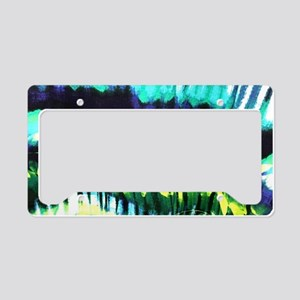 teal tropical leaf watercolor License Plate Holder