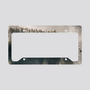 nature trees mountain fog lan License Plate Holder