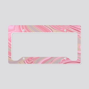 cute pink marble swirls License Plate Holder