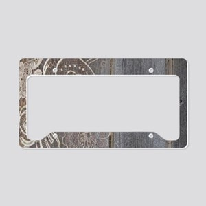 rustic country barn wood lace License Plate Holder