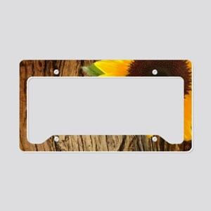 tree bark heart sunflower License Plate Holder