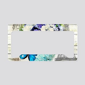 blue floral paris eiffel towe License Plate Holder
