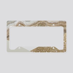 Geometric gold glitter Marble License Plate Holder