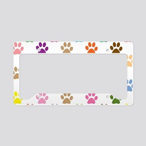 Colorful puppy paw print patt License Plate Holder