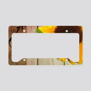 barn wood country sunflower License Plate Holder