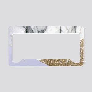 Lilac Glitter White Marble License Plate Holder
