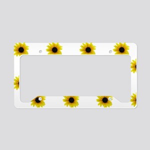 Pretty Yellow Sunflower Patte License Plate Holder