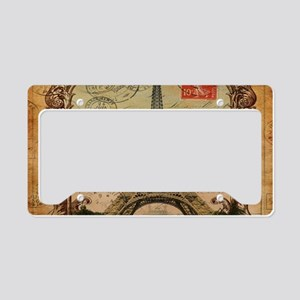 vintage scripts postage paris License Plate Holder
